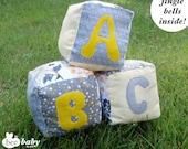 Set of 3 Big Plush and Jingle Handmade Fabric Baby Blocks - Yellow and Grey - Free Shipping (itemK01)