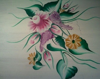 """Original Handpainting of """"Roses Bouquet"""" on White-Washed Wooden Board"""