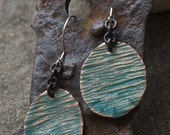 Textured Green-Gold Earrings