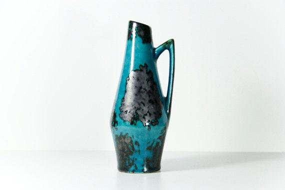 German Pottery Vase West German Ceramic Scheurich 1950s Blue Black