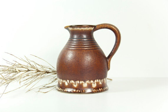 Vintage German Pottery Pitcher Jopeko 1950s Brown White Drip Glaze
