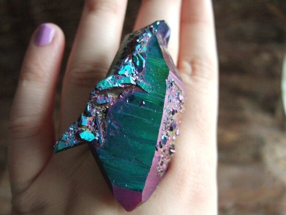 XL Raw Titanium Quartz Crystal Ring