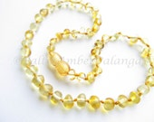 Baltic Amber Baby Teething Necklace Lemon Rounded Beads