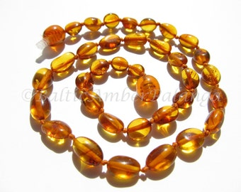 Baltic Amber Teething Neklace, Cognac Color Olive Form Beads