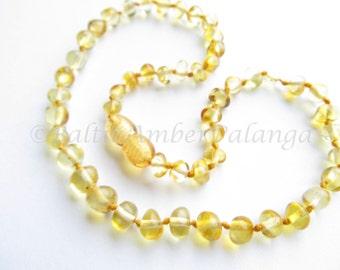 Baltic Amber Baby Teething Necklace Lemon Rounded Beads