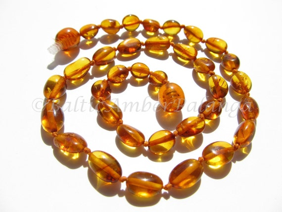 Baltic Amber Baby Teething Neklace Cognac Color Olive Form Beads