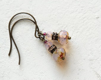 Pink Glass Beaded Earrings. Feminine Everyday Jewelry