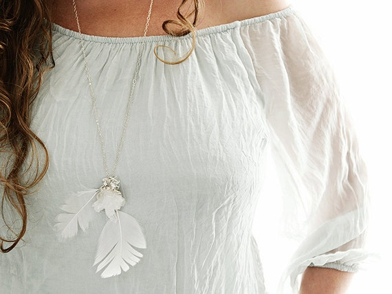 RESERVED - Long White Feather Necklace with Quartz Crystal on Sterling Silver Chain. Dreamy Jewelry - Ethereal Wedding Jewelry