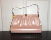 Vintage Purse 50s 60s Mad Men Handbag Metallic Pearlized Pink Hinge Open