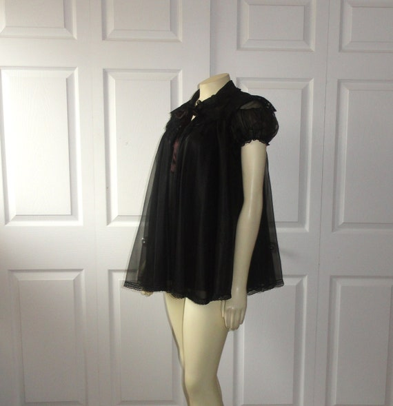 Items Similar To Vintage Nightgown Amp Robe Black Chiffon Sissy Babydoll Nightie And Bed