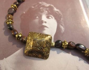 Gold antique button bracelet