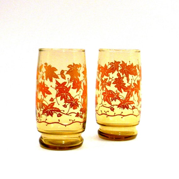 Autumn Leaf Glasses, Vintage 1960s Libbey Amber Tumblers