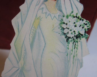 Gorgeous 1920's-30's P.F. Volland die cut large size place card  bride in wedding dress and veil unused