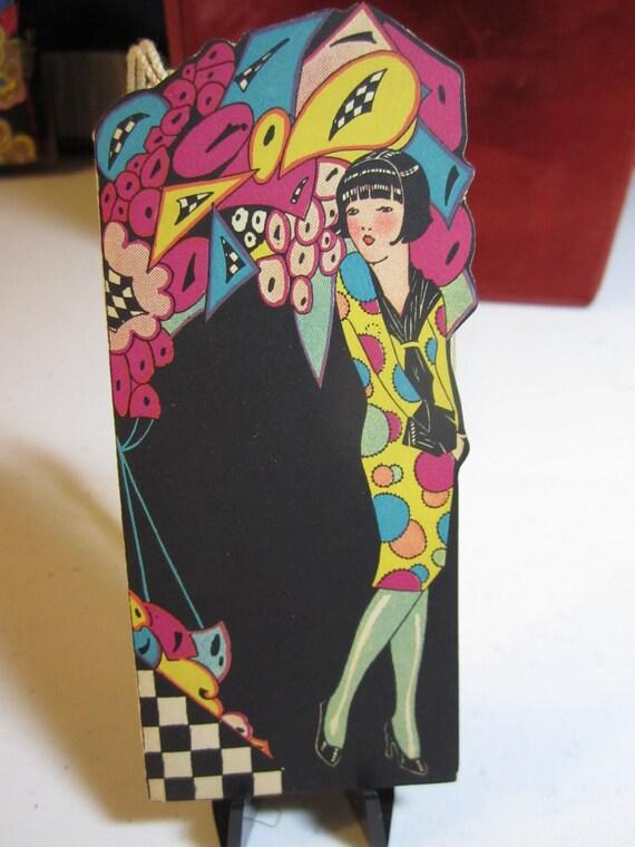 ... die cut bobbed hair flapper girl in fantasy garden polka dots dress
