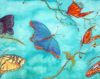 "ORIGINAL COLORFUL BUTTERFLY painting - dye on silk titled ""Spread Your Wings and Fly"""