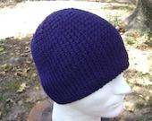 Crochet Hat  Beanie Skullcap Men Women Teen Navy Blue