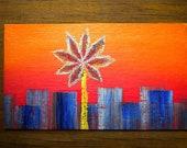 Autumn Sunflower Sunset - Oil Handpainted Magnet ACEO