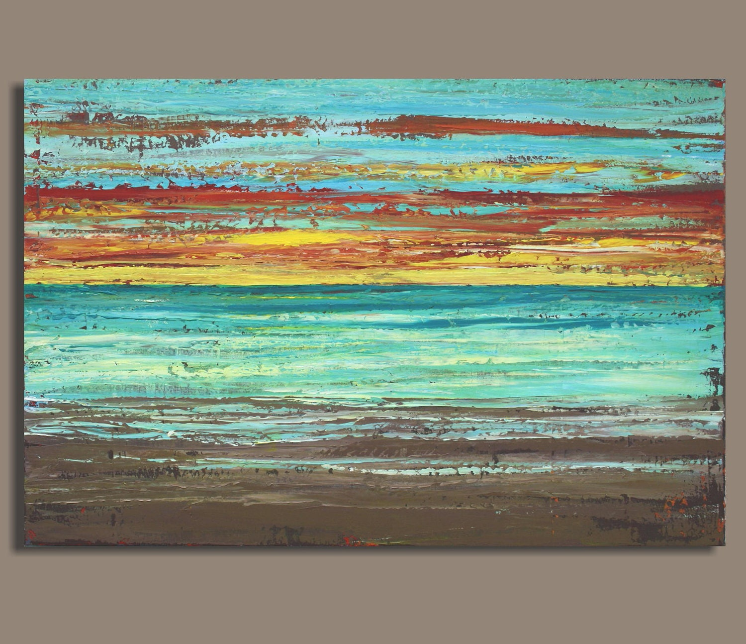 Large Sunset Beach Painting Sunset Beach 24x36 Highly