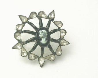 Unique Vintage Tear Drop Rhinestone Cameo Dome Costume Jewelry Large Brooch Pin