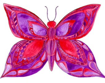 Butterfly Art Print: 8x10 red and purple watercolor painting