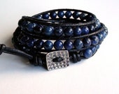 Leather Wrap Bracelet - Favorite Blue Jeans - Blue Dumortierite Triple Wrap Bracelet