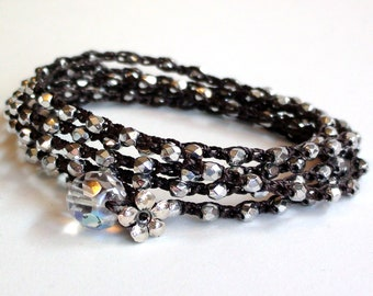 Silver Crochet Wrap Bracelet (or Necklace)