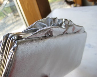 Vintage Silver Ruffle Clutch with Chain