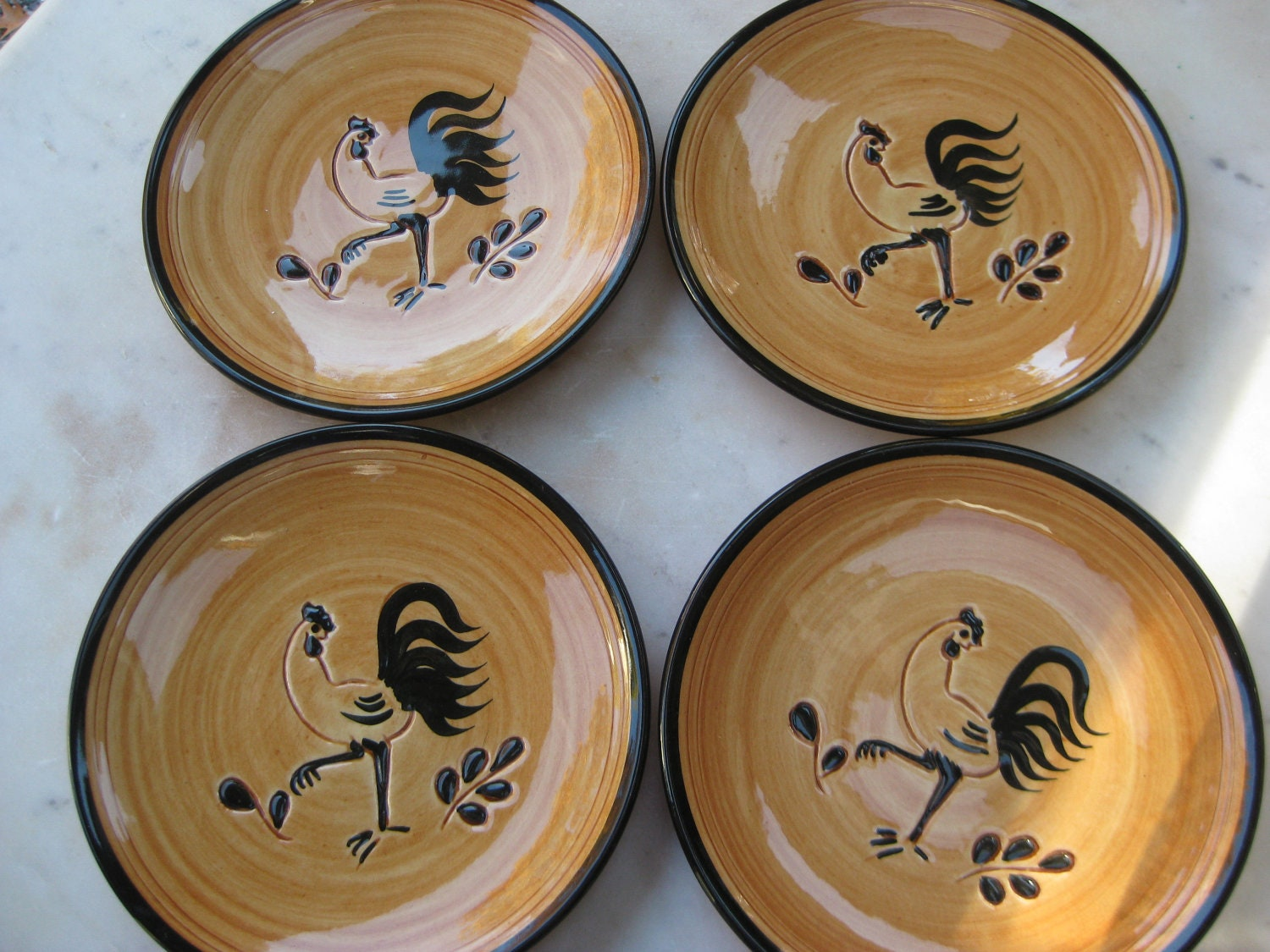 Vintage Pennsbury Pottery Rooster Plate Set Of 4