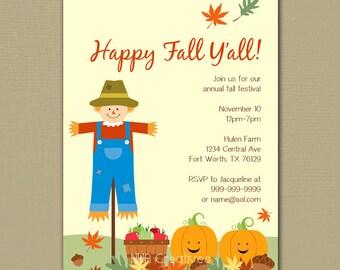 Happy Fall Y'all / Fall Festival Party Invitation - Personalized DIY Printable Digital File
