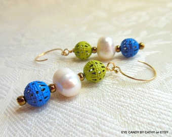 Blue, green and white earrings, white freshwater pearls, blue and green filigree, gold filled wires