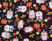 2017  - 1 meter SDLP Cotton fabric  - Owl Pumpkin Apple on black