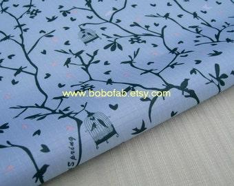 "3213C  - 1 yard Vinyl Waterproof Fabric - Branches,birds (Blue)   - 57""x36"""