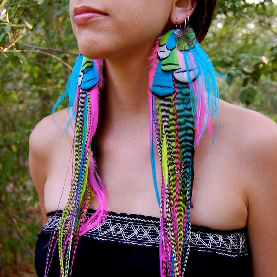 PACIFIC WAVE Super Long Feather Earrings RESERVED