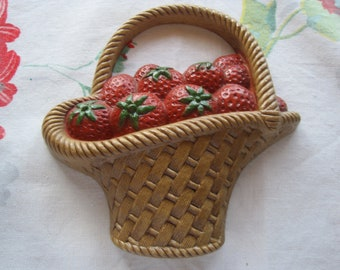 Vintage Burwood Strawberry Basket Wall Hanging
