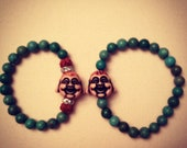 HIS and HERS Buddha Bracelet Set - Turquoise Yoga Arm Candy - Gift Boxed