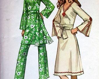 "Simplicity Dress Pattern No 9252 Vintage 1970s Size 16 Bust 38"" Jiffy Long Raglan Sleeves V Neckline Back ZIpper Easy to Sew Pants"