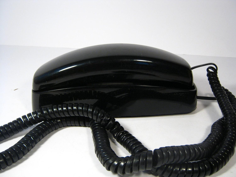 Vintage Black Push Button Telephone 1970 U0026 39 S Trimline