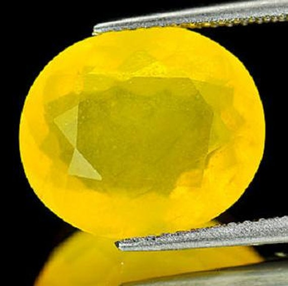 Genuine Mexican Yellow Opal 5.27 ct Flashy Untreated 14.3x12.2x7.1mm Oval Faceted Loose Gemstone  jh Take 20% Off