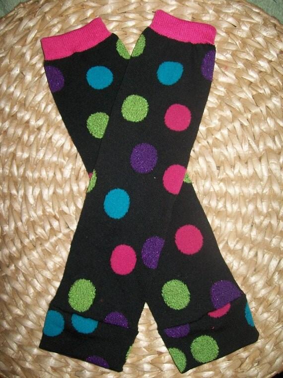 Baby Girl Leg Warmers  Black Polka Dots