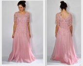 Vtg. 1970s Pink Maxi Dress by Samax Lace Tiered and Chiffon Medium