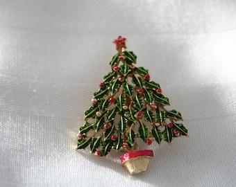 Vintage Enamel Christmas Tree Pin
