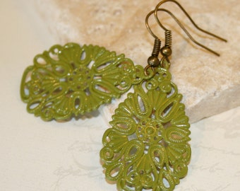 Moss green metal earrings, metal filigree earrings, metal dangling earrings, Painted filigree