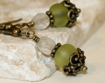 Green Sea Glass earrings, Dangling earrings, Bottle green glass, Green earrings