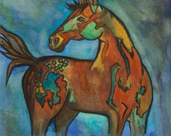 New Archival Print of my horse painting, Celestial, blues, ochers, sable browns, golds, size 11x13