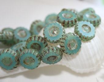 13mm . Czech glass carved coins . opalescent aqua . 5 beads