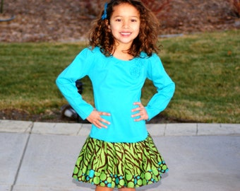 CLEARANCE SALE Turquoise Teal Zebra Polka Dot Girls Dress Turquoise Green & Brown - 1 Left 4T