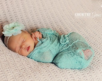 Newborn Teal Cheesecloth Wrap and Headband Set...Baby Wrap...Baby Bows...Photography Prop...Newborn Portrait Prop