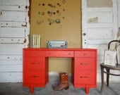 Reserved for CAITLIN PORTER 1960s Red Mid Century Desk