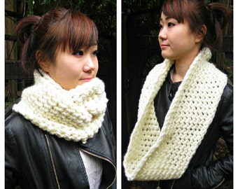 Chunky Cowl, Infinity Scarf, Cowl Snood Scarf in Cream Panna cotta handmade in a Wool blend - READY TO SHIP