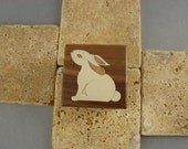 Ring Box with inlaid Rabbit.  Free Shipping and Engraving. RB30